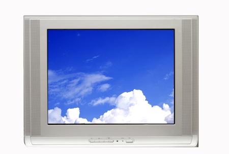 blackout: TV en Blue Sky Stockfoto