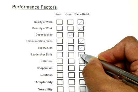 Check box for employees performance rating  Stock Photo
