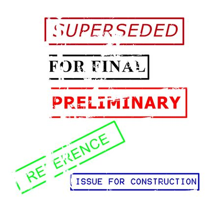 superseded: various  rubber stamps for engineering documents Stock Photo
