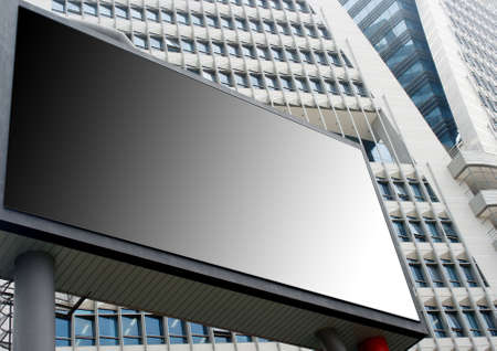 Blank Billboard with high rise building background photo