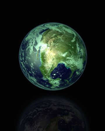 Globe 3D over Black with Reflection Stock Photo - 2482142