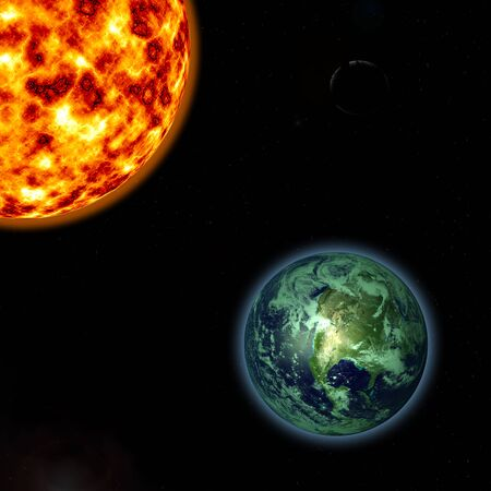 gaia: Render of Sun and earth in High resolution 3D