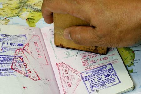 Immigration Stamp on Passport  photo
