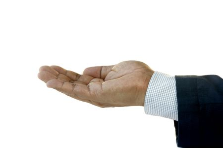 Hand of Businessman Facing Up  photo