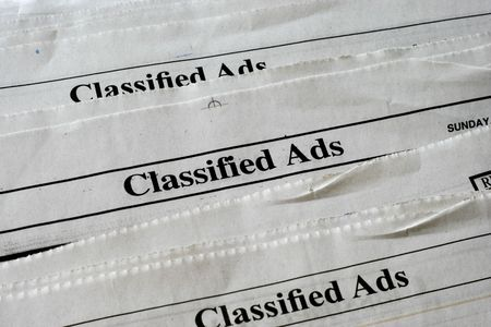 Classified Ads section of newspaper   Stock Photo