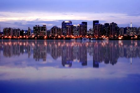 Seoul Skyline majestic reflection at Han River photo