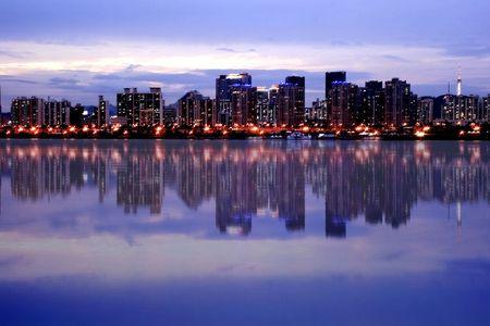 Seoul Skyline majestic reflection at Han River Stock Photo
