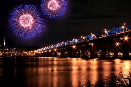 Spectacular Fireworks in Han River Stock Photo