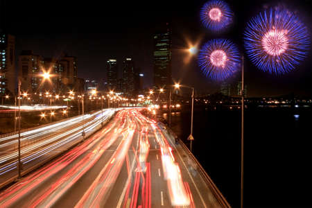 Busy highway with fireworks in Seoul Korea photo