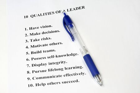 Ten Qualities of a Leader  a business concept for human resources and management. Stock Photo