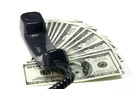 expenditures: Dollar and Telephone Cord Concept for telephone call expenditures Stock Photo