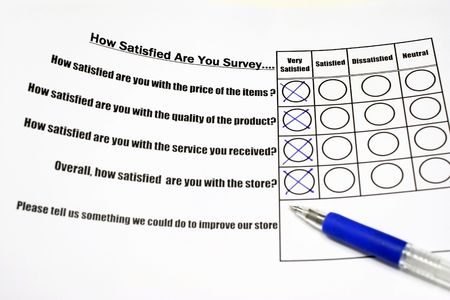 How satisfied are you survey form with tick on the very satisfied column Stock Photo - 3063508
