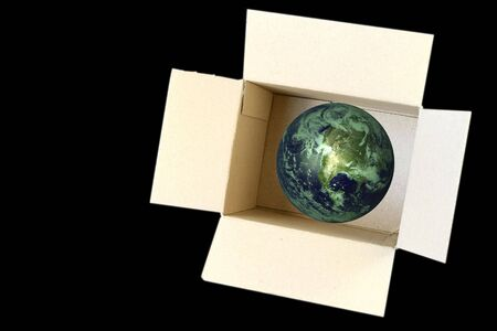 carboard box: Open Carboard Box and earth inside - concept for environment ecology and recycle