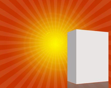 3d Blank box in orange starburst background with copyspace photo