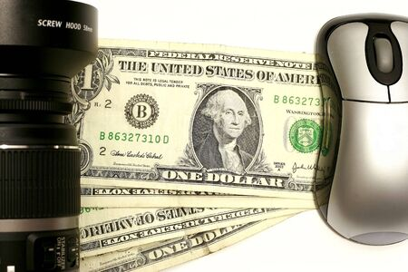 clique: Camera with mouse in a dollar concept for money maker
