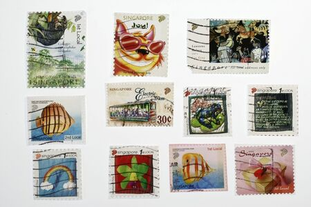 malaya: set of similar old postage stamps from singapore