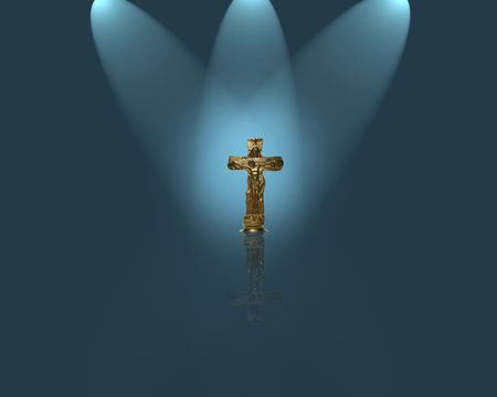 Crucifix with spotlight background photo