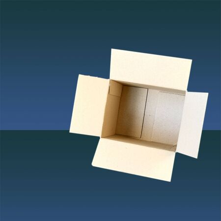 Carton box isolated on gradient blue  background with copy space Stock Photo - 3457948