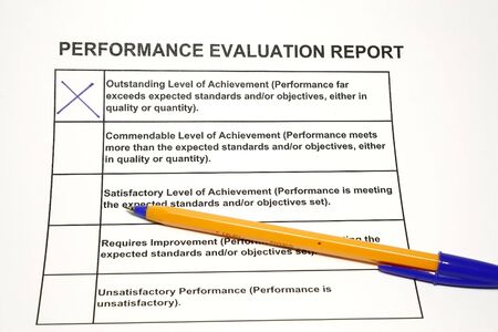 Employee performance evaluation form concept for HR or personnel assesment photo