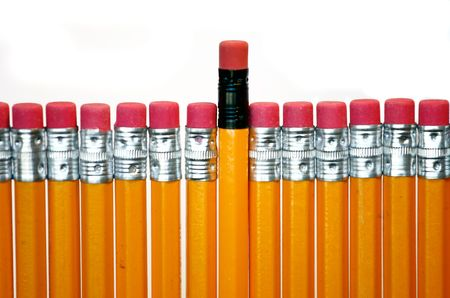 usual: celebratory pencil among usual pencils  Stock Photo
