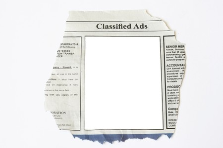 blank newspaper: Classified Ads with blank white space ready for your commercial use