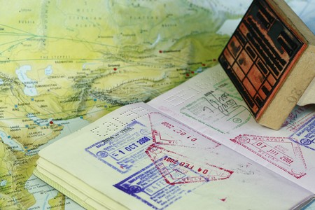 customs: visa stamps on a passport
