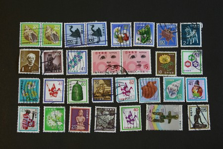 philatelic: Japanese Vintage old Stamps rare collectibles series Stock Photo