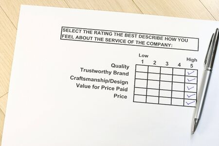 questionaire: survey about the service of the company concept Stock Photo