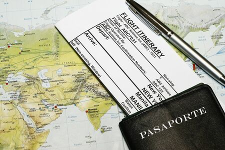Travel documents with online booking e-receipt with passport Stock Photo
