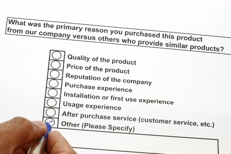 purchased: Primary reason you purchased this product concept Stock Photo