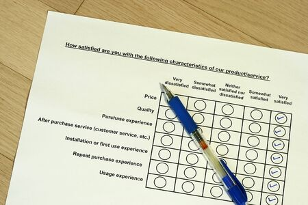 How satisfied are you with the product survey concept Stock Photo - 4229882