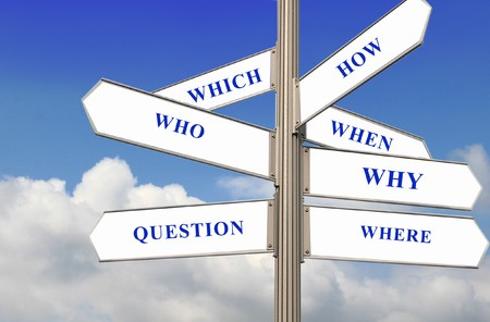 Street direction with the five w's and how question concept Stock Photo - 4263206