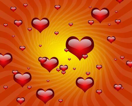 illustration of many heart shape with starburst rays Stock Illustration - 4290246