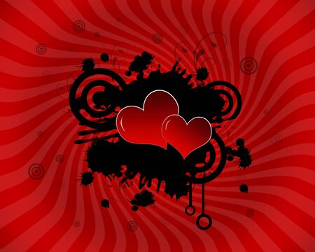 sensation: Heart on a sunrays high resolution with red twirls Stock Photo