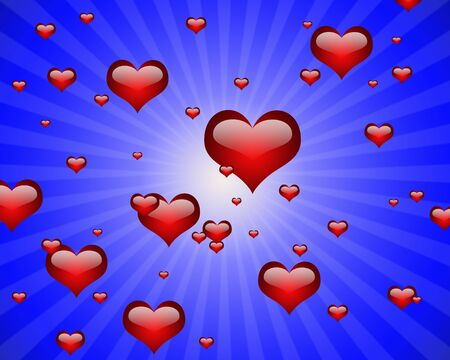illustration of many heart shape with highlights in a blue ray Stock Illustration - 4290245