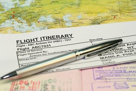 itinerary: Flight itinerary concept  Stock Photo