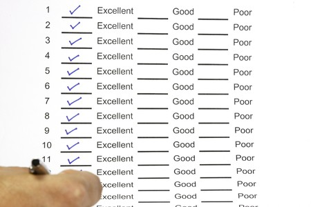 Excellent good and poor answer sheet concept photo
