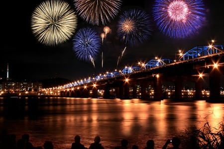 Spectacular fireworks at han River  Stock Photo