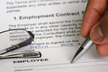 terms: Employment contract signing  Stock Photo