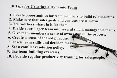decission: Ten tips for creating a dynamic team  Stock Photo
