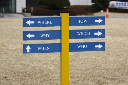 enquiry: Signpost with the six most commonly asked questions