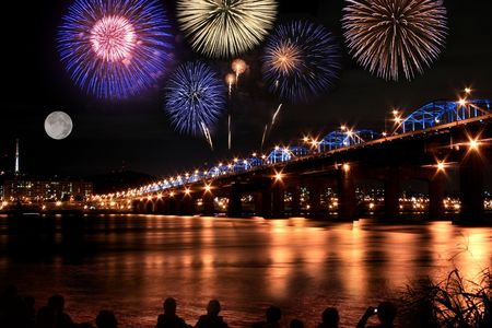 happening: Spectacular fireworks at han River  Stock Photo