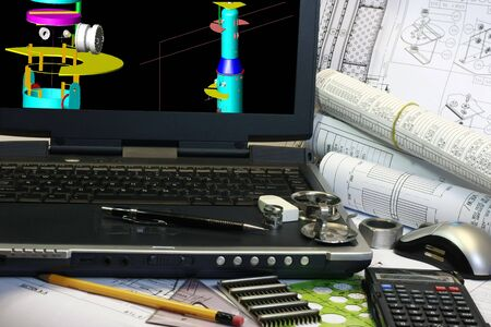Drafting of column tower use in oil and gas industry. Note display in the monitor is my original works. photo