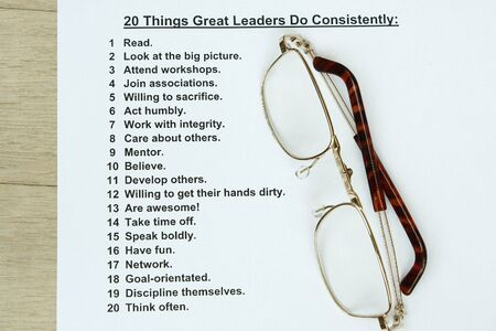 advancement: 20 things great leaders do consistently concept Stock Photo