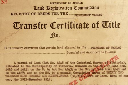 titles: Photo of 1961 transfer certificate of titile