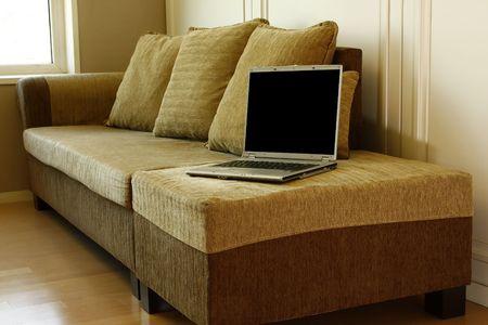 laptop and sofa  photo