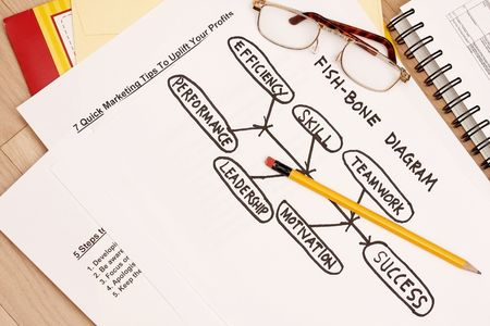 cause and effect: Fishbone diagram concept - cause and effect diagram Stock Photo