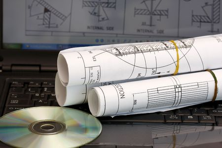 preliminary: Computer aided design concept - roll of blueprint with CD. Stock Photo