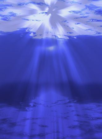 An illustration of sunlight shining through the water- abyss illustration