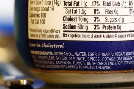 grasas saturadas: etiqueta de informaci�n nutricional Foto de archivo